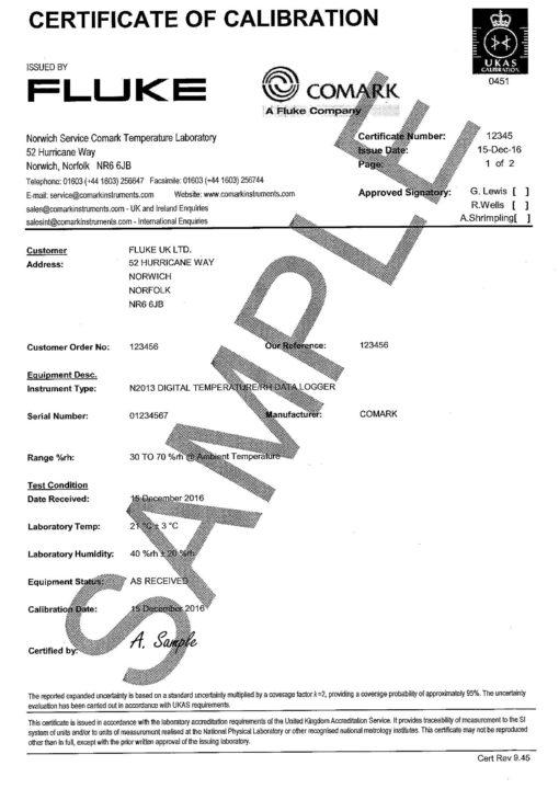 Sample Certificate Humidity RH