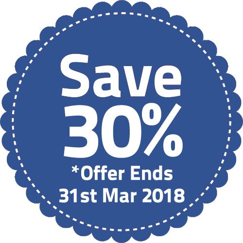 Save 30% until 31st March 2018